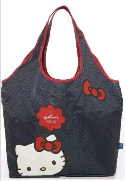 GIFT41 4165本通 三重店 KT 凱蒂貓 Hallmark 聯名款 可收納購物袋(深藍 紅) HLKT14A109NY RD