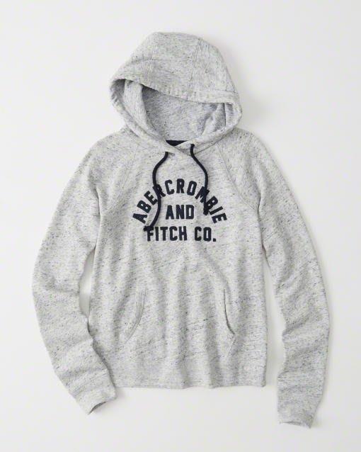 Maple麋鹿小舖 Abercrombie&Fitch * AF 麻灰色電繡字母連帽長T * ( 現貨L號 )