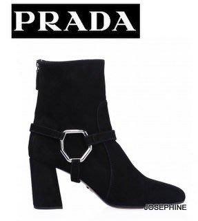 喬瑟芬【PRADA】 現貨~黑色 山羊麂皮 GOAT SUEDE 金屬釦 方頭 短靴(釦環可拆*39號)