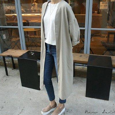 棉麻外套長外套薄外套韓風 簡約開襟無領長版防曬外套 艾爾莎【TGK6801】
