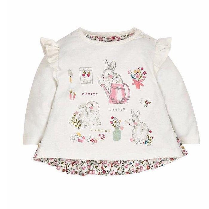 ☆草莓花園☆BM-1168  小兔花花蝴蝶袖  歐美風兒童長袖衣服 純棉童T 女童  童T恤