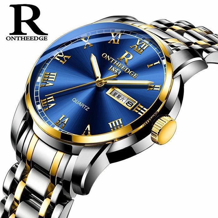爆款精鋼殼鋼帶鋼錶圓形石英錶三針商務非機械手錶