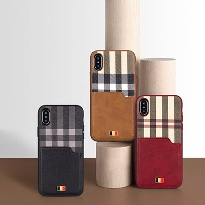 ☆韓元素╭☆ Latus 拉圖斯系列【 iPhone X/Xs 】質感 皮革 格紋 插卡槽設計 手機殼 背蓋