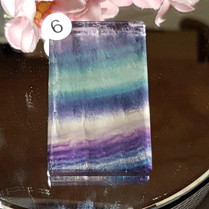 二姐的店 螢石 平安無事牌 項鍊墜飾 天然艷麗彩虹色 ~b634-6◎特價