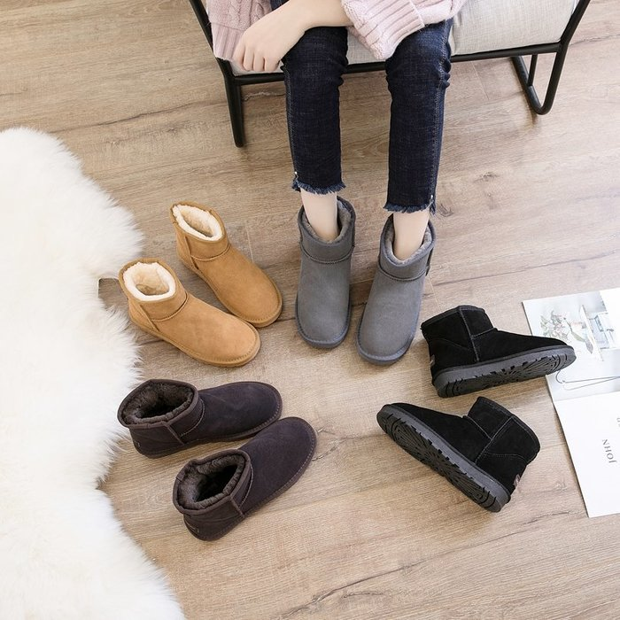 Modem Girl♥100%實拍 真皮(牛皮) 超厚毛毛防滑短筒雪靴 短靴 四色 35-40號