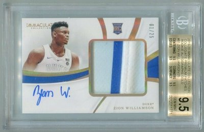 2019-20 Immaculate Zion Williamson  GOLD 金版限量1/25 同背號 BGS9.5