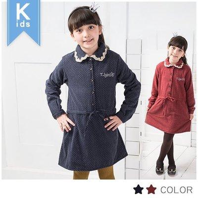 〔清倉.出清〕。中大童。滿版點點腰抽繩刷毛洋裝~紅,藍(120.130號)*勻伶流行館~貨號54755