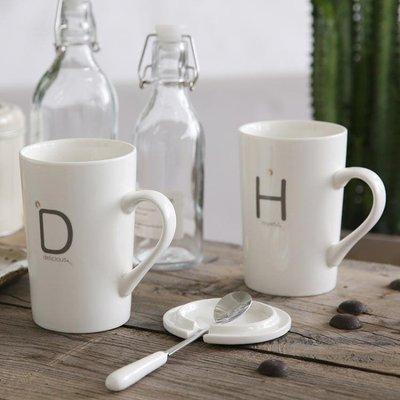陶瓷杯子水杯情侶牛奶咖啡杯簡約馬克杯帶蓋勺大容量家用茶杯 LI1988