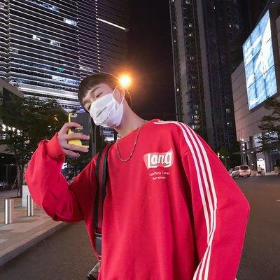 DS_08網紅時尚香港時尚秋季新款字母印花寬松衛衣男大碼潮流條紋上衣