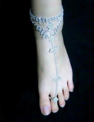 {Korinne's Shop } 滿400(超商純取貨)免運日韓飾品 新娘表演 水鑽水晶蝴蝶結 連體戒指手鍊也可當腳鍊