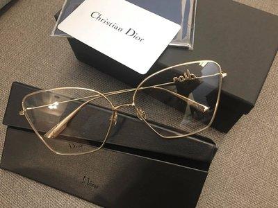 安安精品保證正品~明星款DIOR 平光眼鏡 光學眼鏡  時尚優雅方框/金#DIOR SignatureO 1 J5G