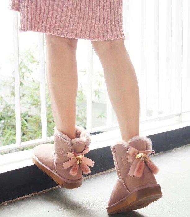 雪靴 後結花 牛麂皮加帶毛羊皮內裡 止滑TPR雙色底 超柔軟 防潑水 丹妮鞋屋