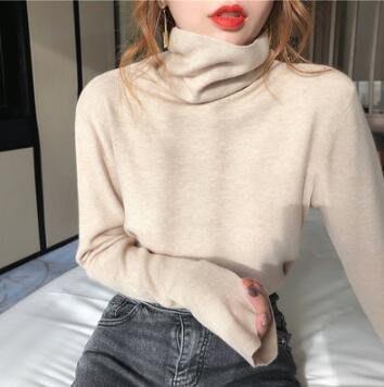 針織衫 毛衣 堆堆領寬松外穿套頭毛衣 韓版百搭高領打底衫 莎芭