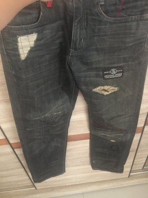過年特惠含運REPUTATION 經典虎紋破壞加工- 暗黑破壞 虎紋 牛仔褲 M 號