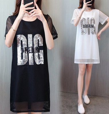 GOGO SHOP☆╭歐美時裝 occident 網紗亮片字母假兩件洋裝 短袖連身裙【Y1446】L~4XL大碼水水