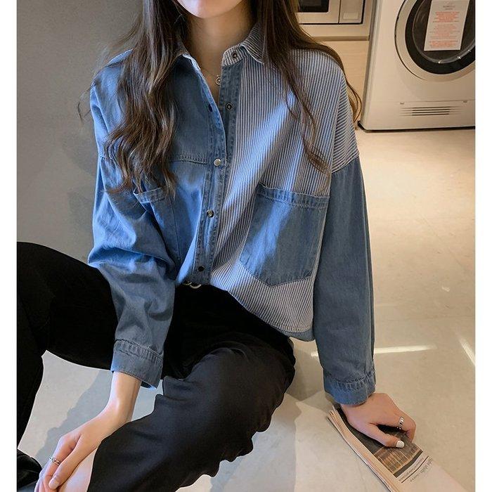 ✿✿拿鐵小姐MISS LATTE✿✿ chic 心機設計感 條紋 bf牛仔襯衫外套
