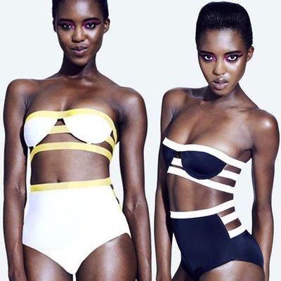 新款拼接鏤空鋼托聚攏繃帶高腰比基尼遊泳衣女bandage bikini