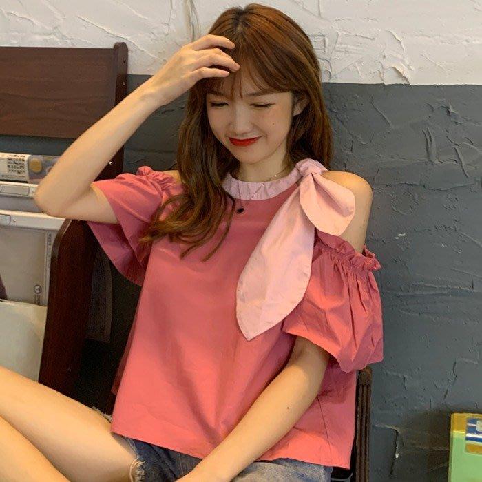 韓版 平口T恤 一字肩 設計感小眾露肩上衣可愛圓領寬松短款短袖T恤女