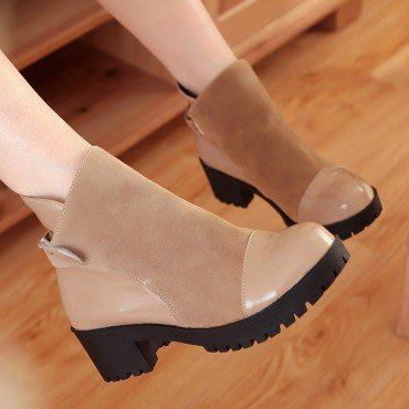 yes99buy加盟-純色魔術貼中跟短筒女靴