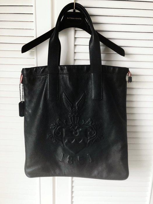 專櫃購買 原價七萬多 BALLY 深黑牛皮家徽鐵片大型托特包