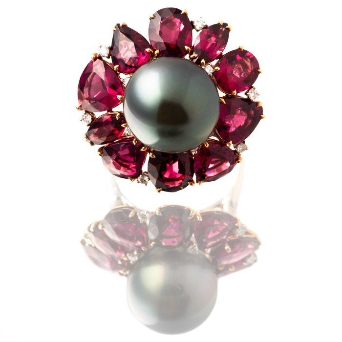 【JHT金宏總珠寶/GIA鑽石專賣】天然黑珍珠石榴石戒指/材質:18K(KBP25-6962)