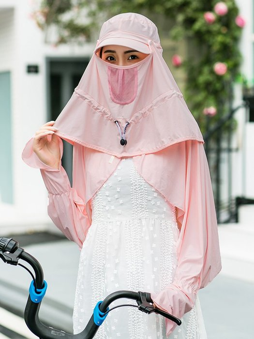 熱賣新品-遮陽帽子女夏天戶外騎車遮臉防曬帽出游可折疊防紫外線太陽帽涼帽#遮陽帽#防曬帽