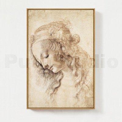 藝術人物歐式裝飾畫達芬奇少女名新款畫現代餐廳客廳無新框畫推薦jk01