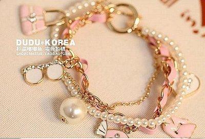 【Asiahito】韓版新款時尚複古珍珠衣服眼鏡糖果掛件百搭多層手鏈女飾品配飾(下標請告要香奈兒粉色皮繩、或白色皮繩)