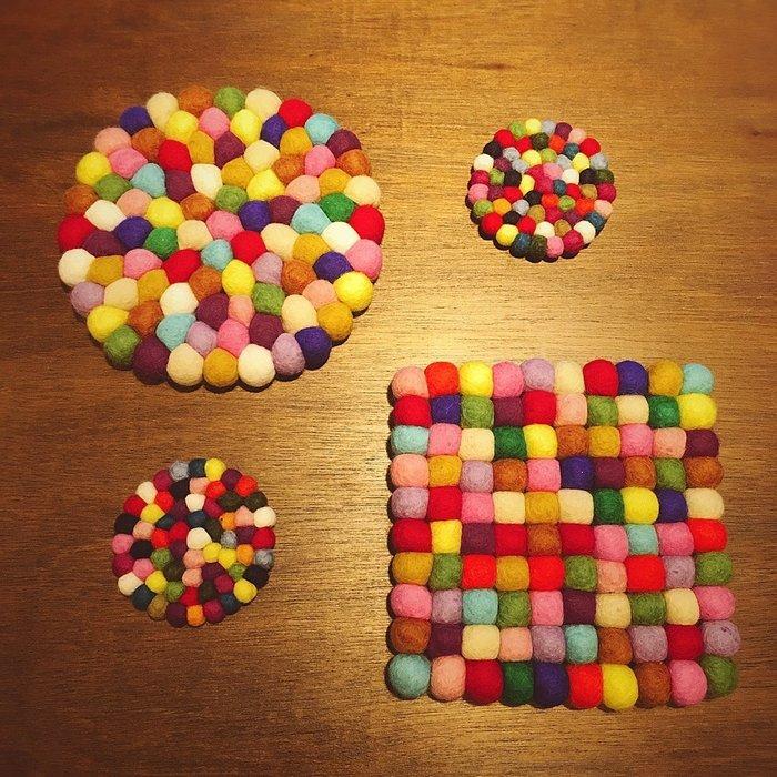 Sugar Korea100% 尼泊爾羊毛氈彩色球球圓形毛氈露營野餐杯墊 餐墊 鍋墊 桌墊 圓形10cm 小款 現貨