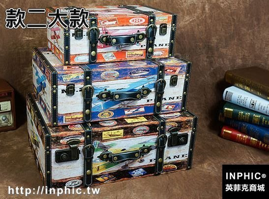 INPHIC-大款復古箱子做舊皮箱創意家居收納整理箱陳列拍攝道具箱多款-款二大款_S2787C