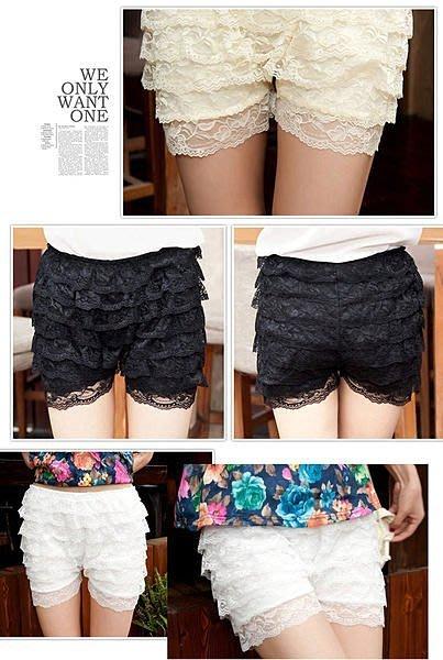 8層蕾絲花邊打底褲 層層蕾絲內搭褲 安全褲 蛋糕 裙褲