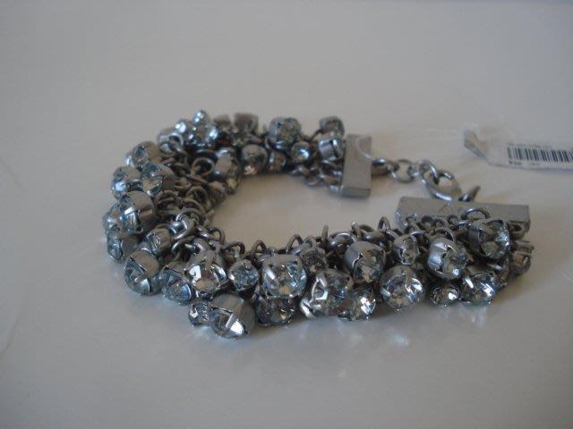 【天普小棧】Abercrombie A&F Metallic Shine Bracelet銀色水鑽手鍊手環 現貨抵台