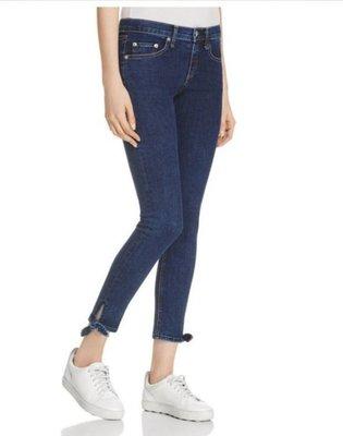 真品美國品牌 Rag&Bone 經典熱門款式Stevie Capri蝴蝶結彈性淺色牛仔褲 (尺寸26)
