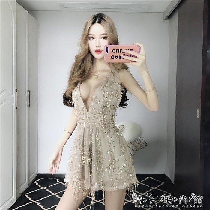 韓版小心機別致亮片大露背深V領低胸收腰顯瘦連身裙