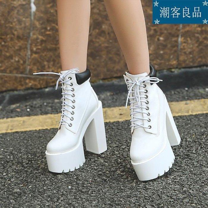 女鞋/高跟鞋/跟鞋/歐美英倫粗跟厚底系帶短靴白色超高跟朋克馬丁靴演出搭扣裸靴現貨夜店性感