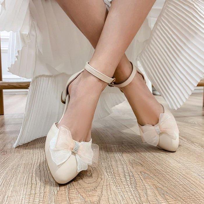 『紫藤花園』2020春夏新款韓版蝴蝶結包頭側空粗跟涼鞋女學院風學生大碼女鞋子A16