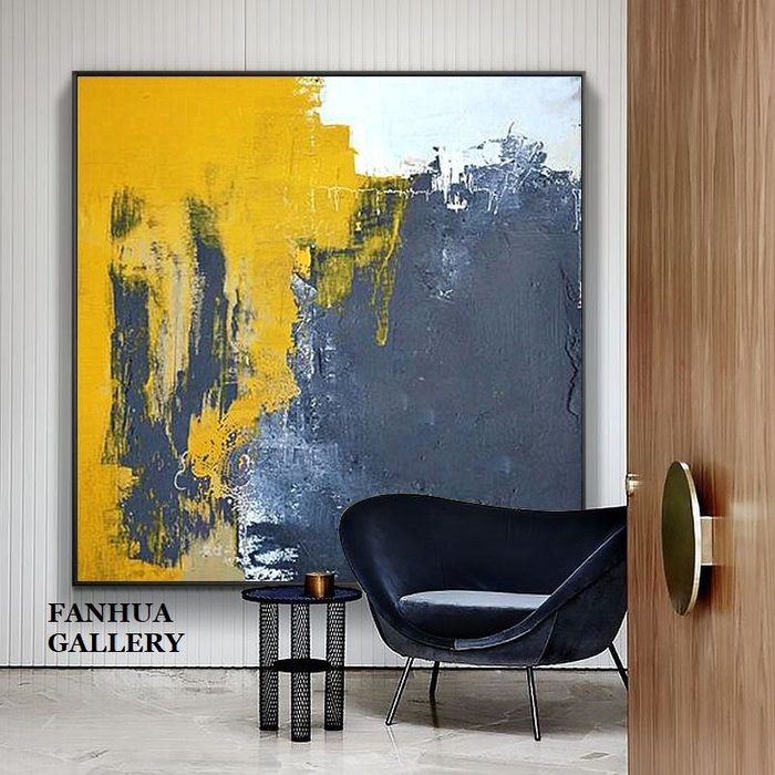 C - R - A - Z - Y - T - O - W - N 純手繪立體油畫黃黑色抽象立體油畫方形掛畫玄關藝術掛畫