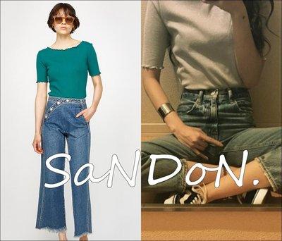 SaNDoN x MOUSSY 官網預約中 每年春夏秋冬必買花邊袖可愛彈性顯瘦合身上衣短TEE SLY 170606