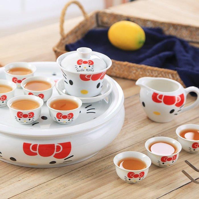 KITTY陶瓷茶具卡通粉kt貓茶具潮汕功夫茶盤家庭女學生宿舍泡茶杯子茶壺套裝