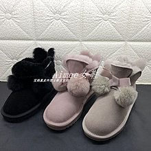 Empress丶19年冬特價羊皮毛一體粉色毛球平底雪地靴保暖百搭女短靴