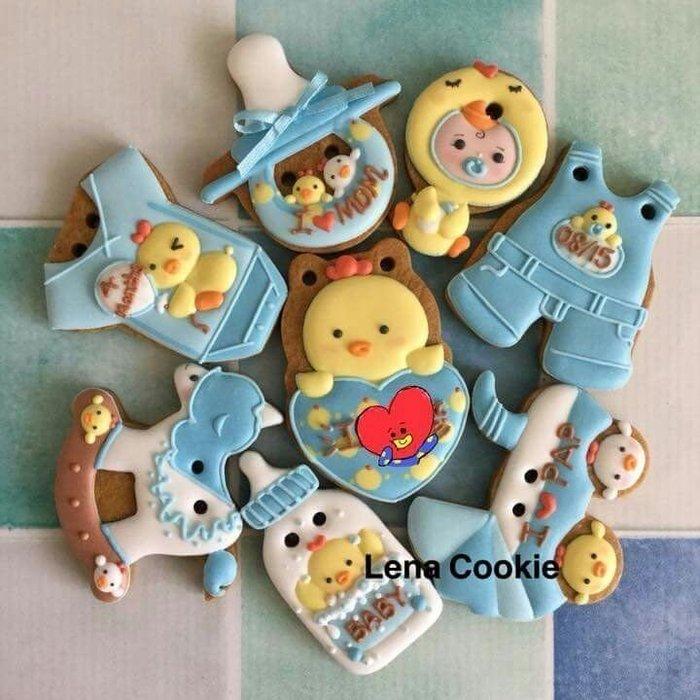可接急單 收涎餅乾 雞寶寶系列 8片 男寶寶 藍色系 糖霜餅乾 生日禮物 手工餅乾 不挑款(Lena Cookie)