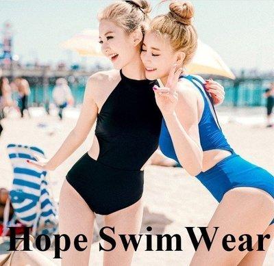 買就送胸墊!韓國連身泳裝  高領削肩連身挖腰泳裝 兩色 連身遮肚泳裝韓國泳衣連身泳裝 正韓比基尼遮肉泳衣 顯瘦泳衣