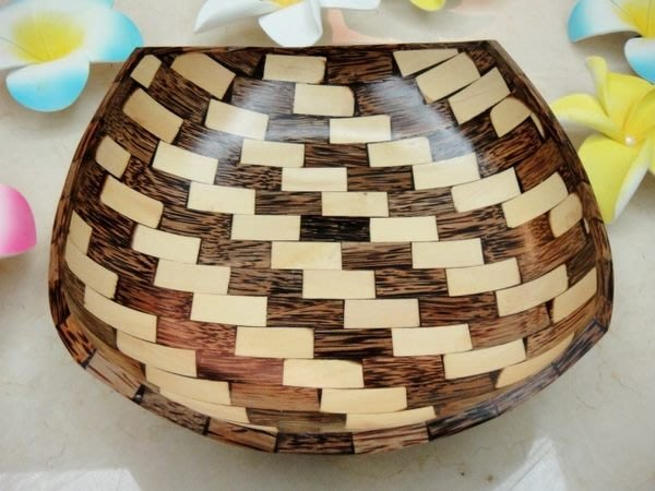 Y【永晴峇里島】巴里島中雙色木盤,增添異國風味,居家,民宿,飯店都好用-盤26@