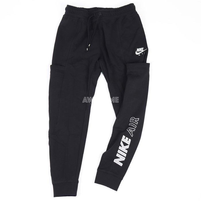 [歐鉉]NIKE NSW AIR 黑色 刺繡LOGO 抽繩 大口袋 薄刷毛 棉褲 縮口褲 女生 CZ8627-010