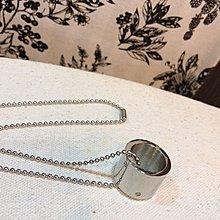 【一元起標無底價】stainless steel 不鏽鋼 戒指圈環狀造型項鍊 偶像劇定情物 男女中性頸鍊 銀