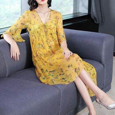 【現貨】連身裙S  收腰桑蠶絲碎花寬鬆兩件式連身洋裝*台北薇安*【W126402】