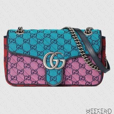 【WEEKEND】 GUCCI GG Small Marmont 小款 肩背包 藍+粉色 多色 443497
