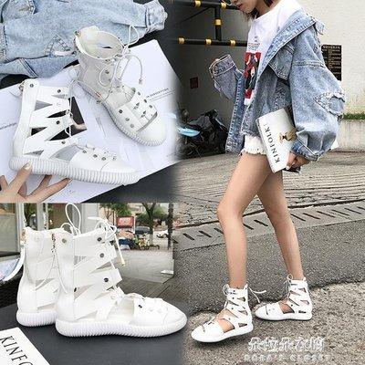 平底綁帶高筒涼鞋女夏白色羅馬鞋鉚釘涼靴繫帶