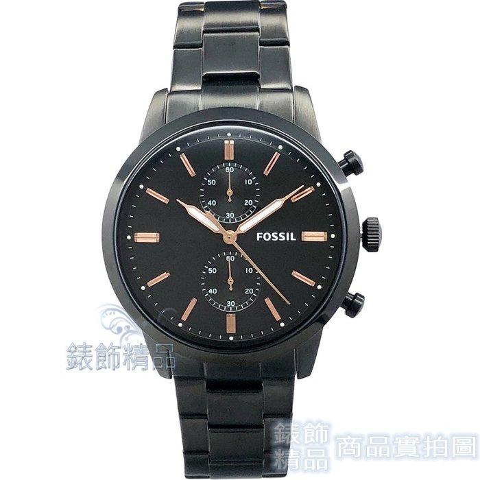 【錶飾精品】FOSSIL 手錶 FS5379 玫瑰金時標 計時 夜光 黑色鋼帶 男錶