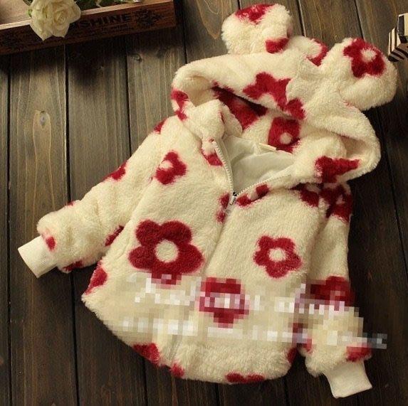 芯芯日韓童裝小舖~~(A103)韓版花朵兔寶寶造型加厚外套.保暖.連帽外套《現貨》